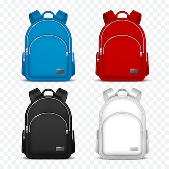 School rucksack. kids backpacks. front view travel bag for backpacking. 3d vector