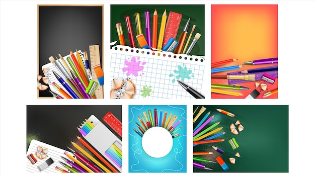 School sale collection creative posters set vector. ruler and eraser, different color pencils and pens, sharpener and paint brush pupil school equipment. concept layout realistic 3d illustrations