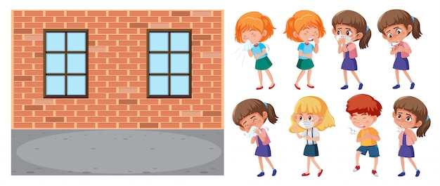 Школьная сцена и набор больных детей на белом