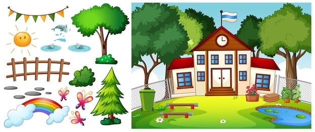 Scena scolastica con personaggio dei cartoni animati e oggetti isolati