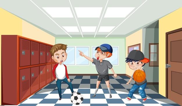 Школьная сцена с мультипликационным персонажем студентов
