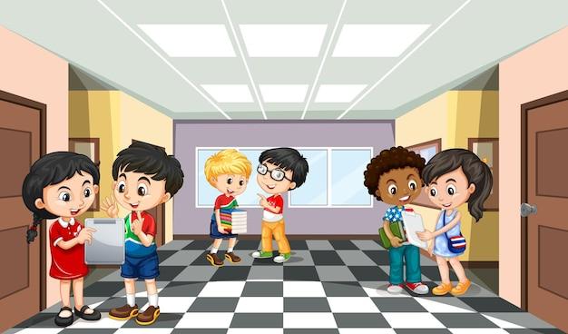 학생 만화 캐릭터와 함께 학교 현장