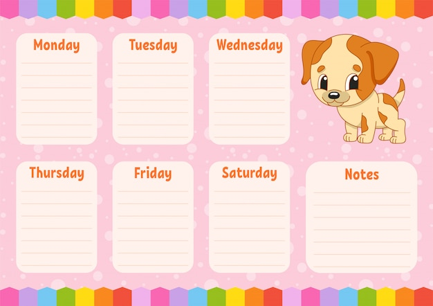 School schedule template with a dog