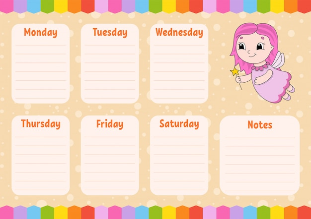 School schedule template with fairy