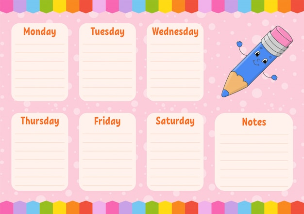 School schedule template with pencil cartoon