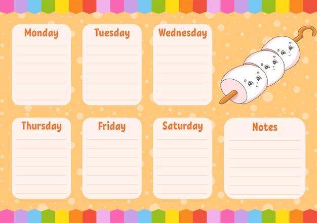 School schedule. timetable for schoolboys. empty template.