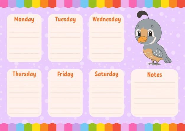 School schedule. timetable for schoolboys.