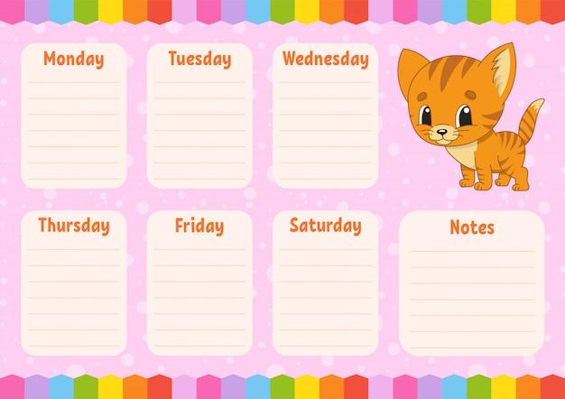 School schedule, timetable for schoolboys