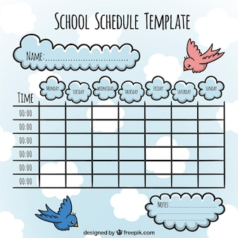Orario scolastico con gli uccelli e le nuvole