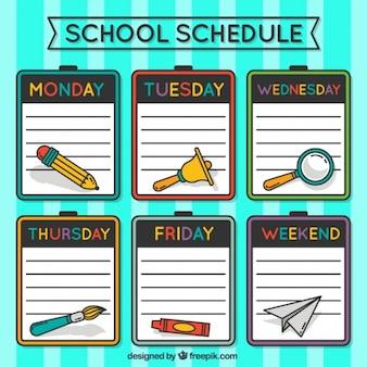 School schedule with clipboards