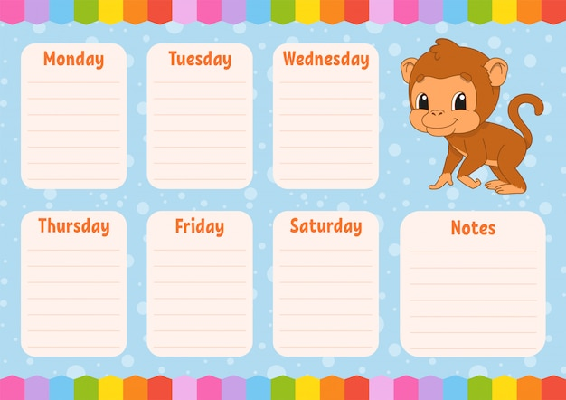 School schedule with monkey cartoon