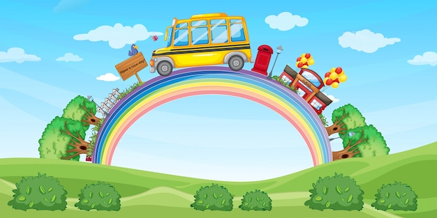 School and school bus on the rainbow
