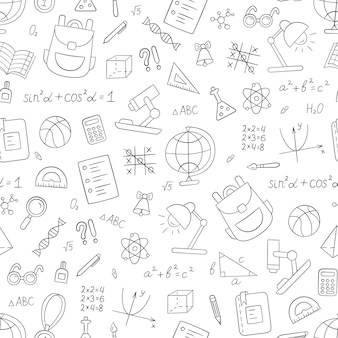 School seamless pattern in doodle style. hand drawn vector llustration on white background