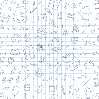 School seamless pattern in doodle style. notebook in a cage. hand drawn llustration