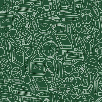 School seamless pattern of green background