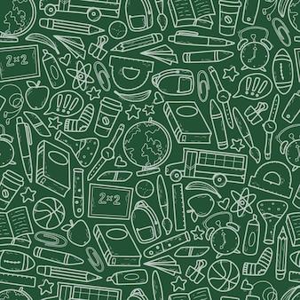 녹색 배경의 학교 원활한 패턴