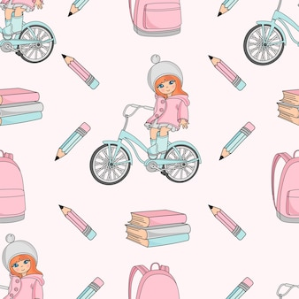 Школа бесшовные шаблон векторной иллюстрации девушка на велосипеде