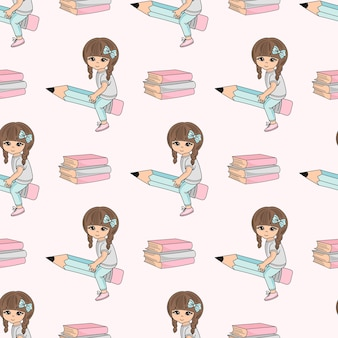 School seamless pattern vector illustration girl on pencil