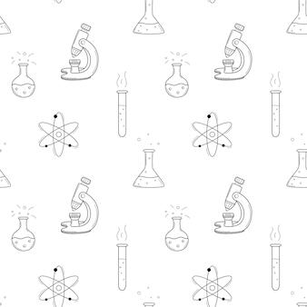 化学フラスコ、ビーカー、試験管、顕微鏡、原子を備えた学校のシームレスなパターン。黒と白