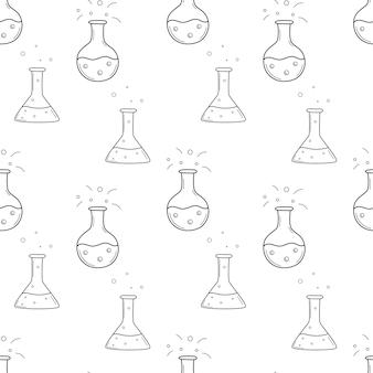 フラスコ、ビーカー、試験管を備えた学校のシームレスなパターン。化学、科学。黒と白の背景