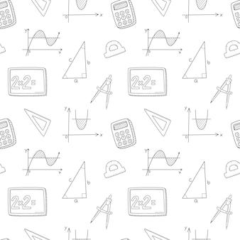 A school seamless pattern with blackboard, graph, triangle, calculator. mathematics. black white