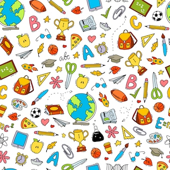 School seamless pattern with doodles