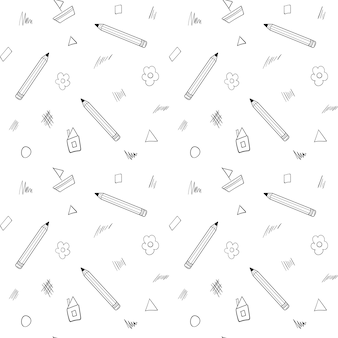 A school seamless pattern with a pencil, house, flower drawn in a childish style. black white