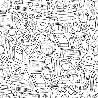 School seamless pattern with sketched doodles