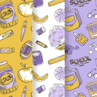 School seamless pattern with stationery items