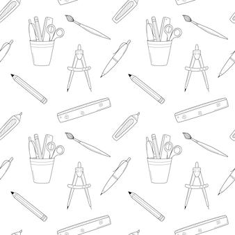 Школа бесшовные модели с канцелярскими принадлежностями, канцелярскими товарами, линейкой, ручкой, карандашом, кистью. черное и белое