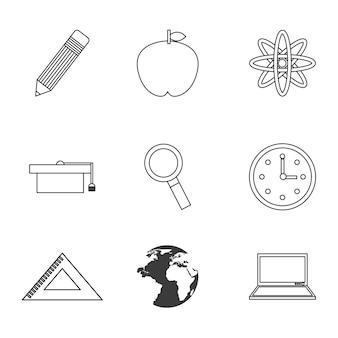 School set  icon design