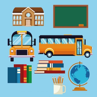 School set of icons cartoon
