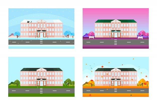 Школа установлена в разные сезоны. векторный фон