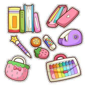 School set. set of different school items,  illustration.