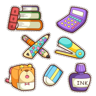 Школьный набор. набор различных школьных предметов, иллюстрации.