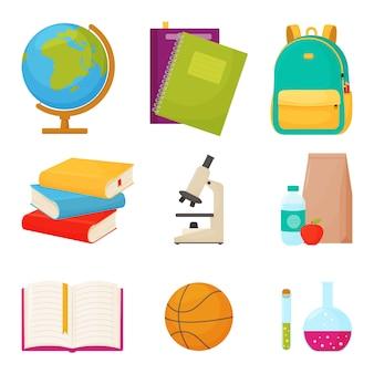 Школьный набор. набор различных школьных предметов на белом фоне, иллюстрации.