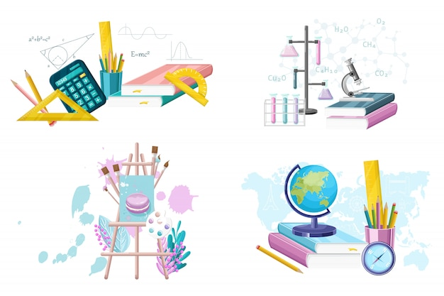 School set supplies collection. mathematics. geography, chemistry and painting supplies set flat style. main courses