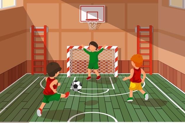 Школьный футбол. дети играют в футбол. спортивная лестница, игра в школьном зале, баскетбол и футбол векторная иллюстрация
