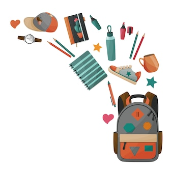 School and sport supplies concept for boys. vector background.
