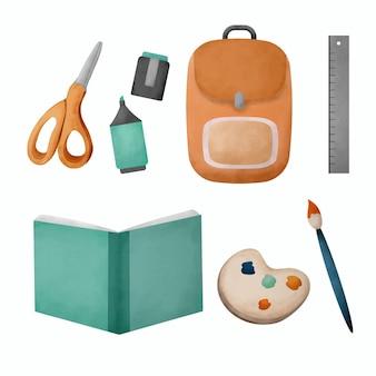 学校の文房具と消耗品の水彩セット。手描きの学用品のイラスト。