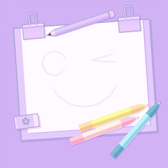 School stationery and blank notepad