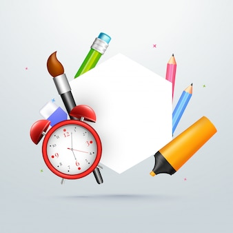 School stationery and blank white space for your text. back to s