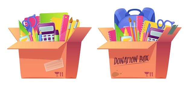 School stationery in cardboard box