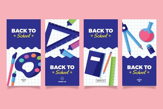 Storie di instagram di design piatto di articoli di cancelleria scuola