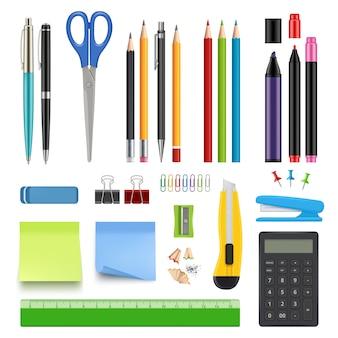 학교 문구. 연필 날카로운 펜 지우개 계산기 나이프와 스테이플러 현실적인 컬렉션