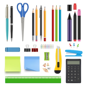 School stationery. pencil sharp pen eraser calculator knife and stapler  realistic collection