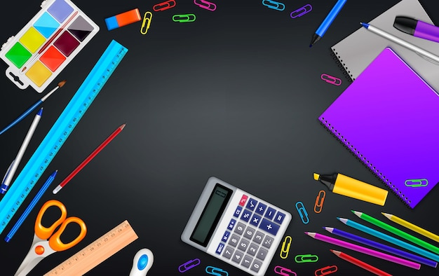 Школьные канцелярские принадлежности реалистичный фон вид сверху стол с копией пространства в окружении офисных материалов