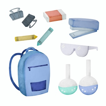 School stationery and supplies watercolor set. hand draw school supplies illustration.