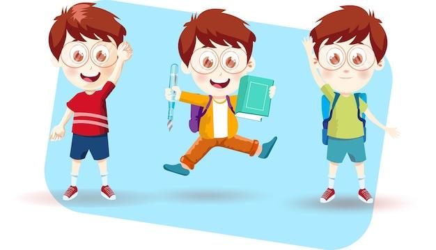 Школьник мальчик с разными эмоциями векторная иллюстрация