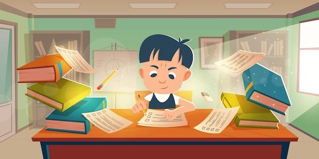 教室での試験に合格した小学生